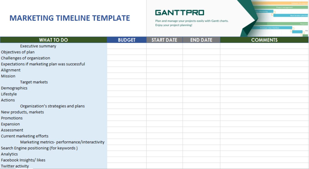 Example Of Marketing Plan Timeline Template Excel In Marketing Plan Timeline Template Excel Xlsx