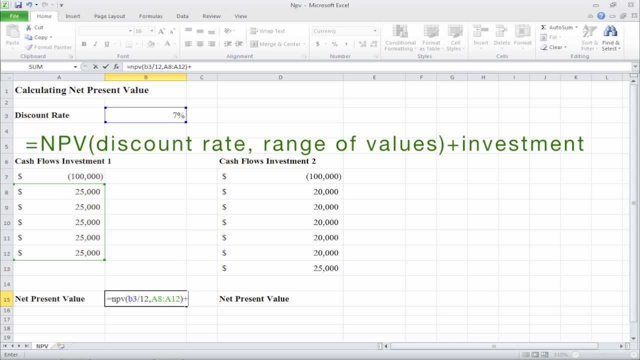 Example Of Npv Excel Template Intended For Npv Excel Template Document
