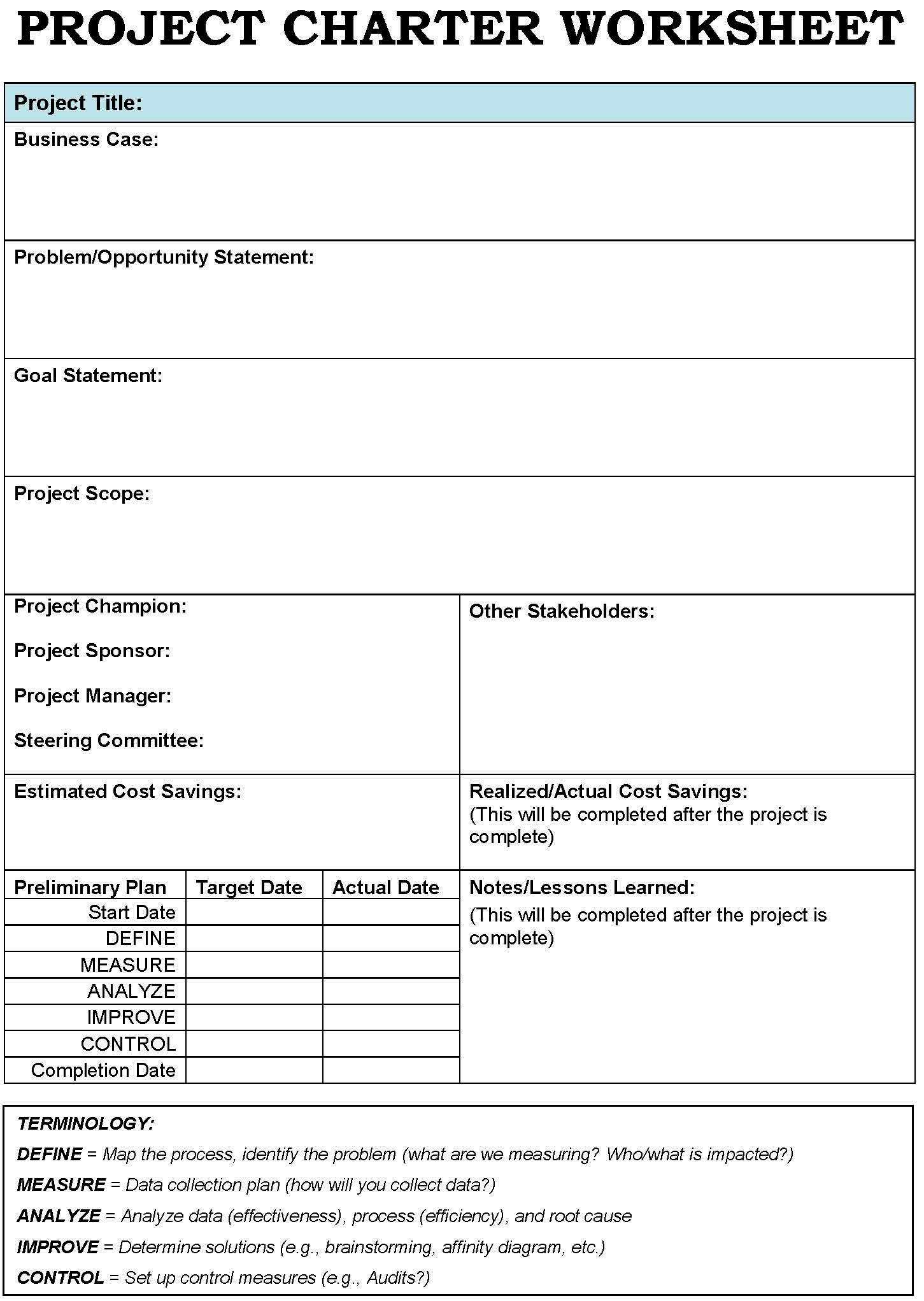 Example Of Project Charter Template Excel With Project Charter Template Excel Download For Free