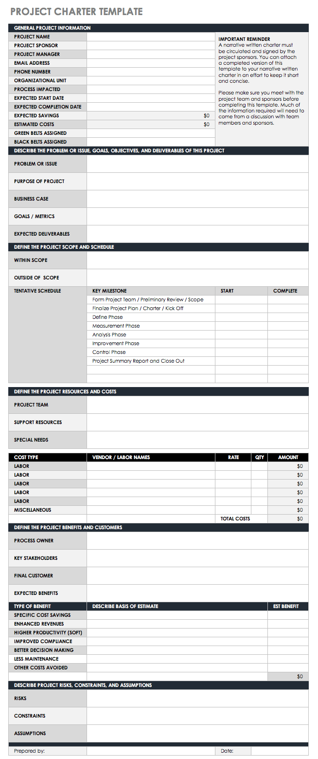Example Of Project Charter Template Excel With Project Charter Template Excel Example