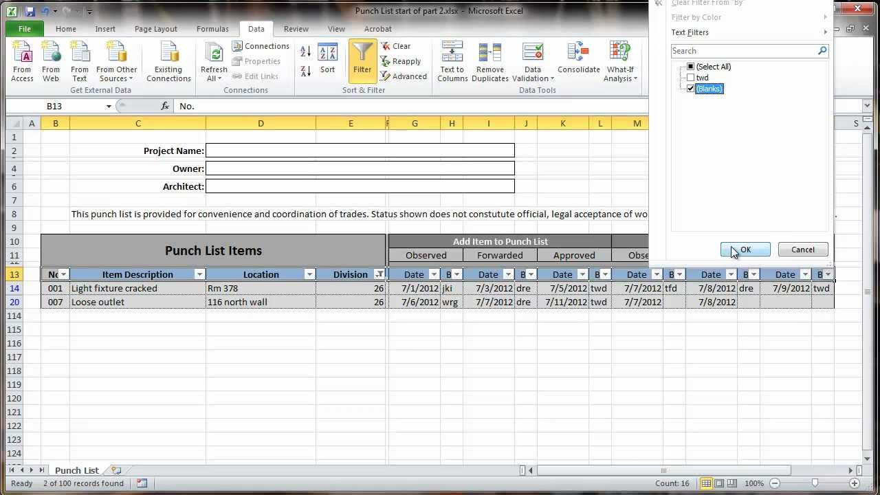 Example Of Punch List Template Excel For Punch List Template Excel Samples