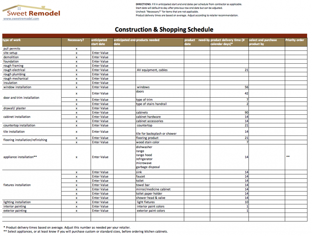 Example Of Renovation Schedule Template Excel To Renovation Schedule Template Excel Document