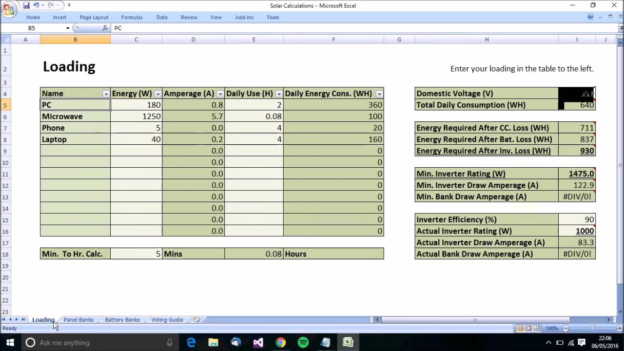 Example Of Solar Power Calculator Spreadsheet For Solar Power Calculator Spreadsheet For Personal Use