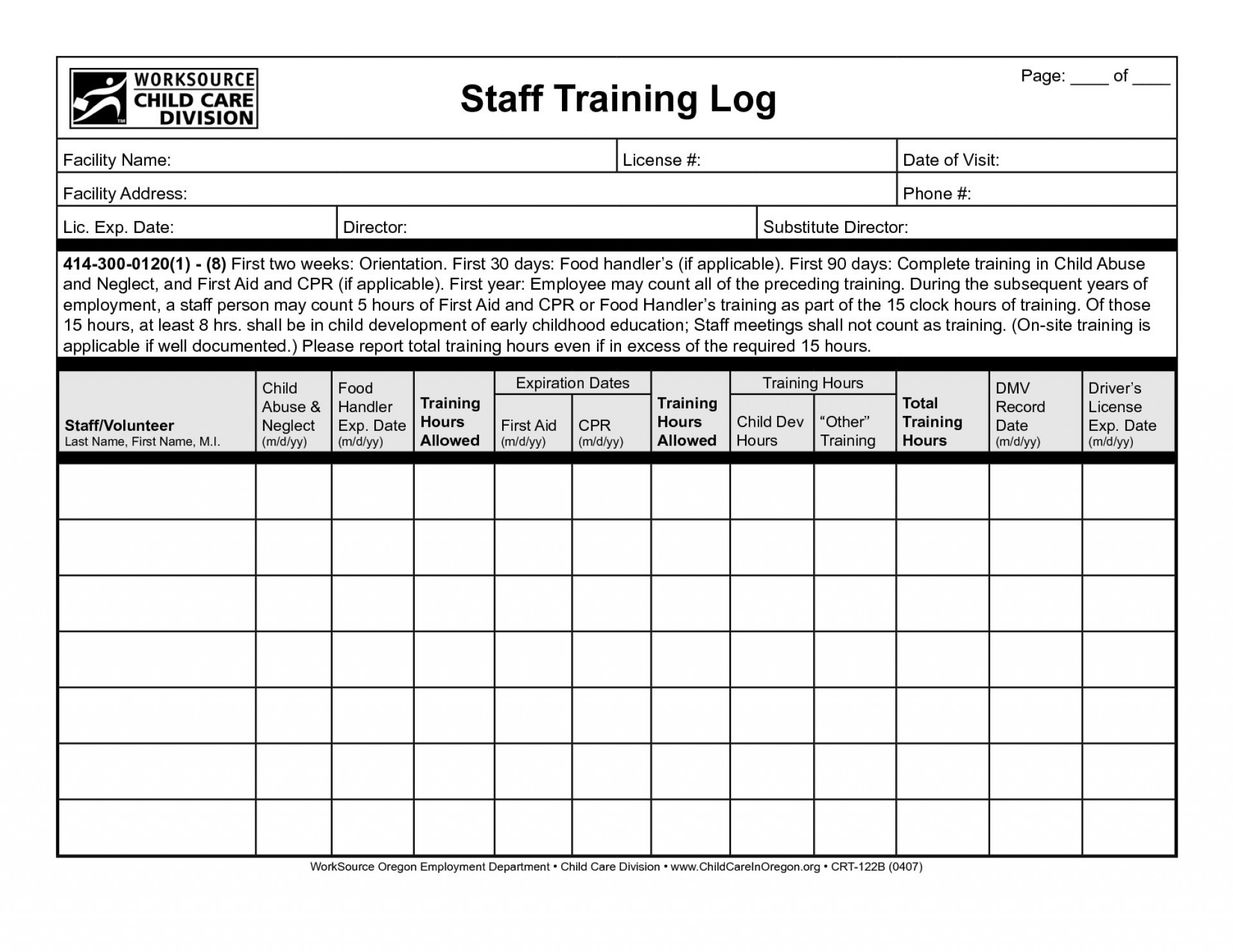 Example Of Training Record Format In Excel Within Training Record Format In Excel Sheet