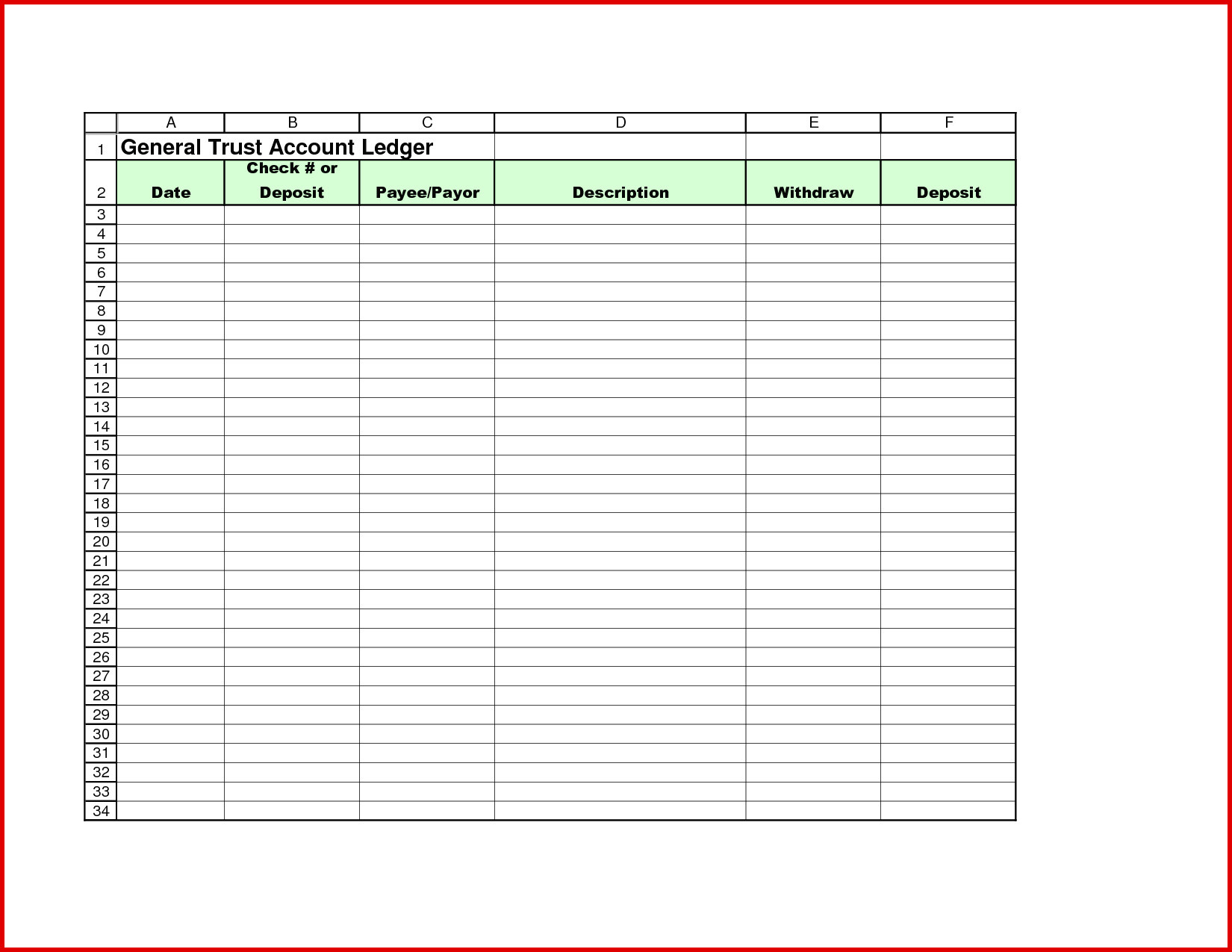 Example Of Trust Accounting Excel Template In Trust Accounting Excel Template Form