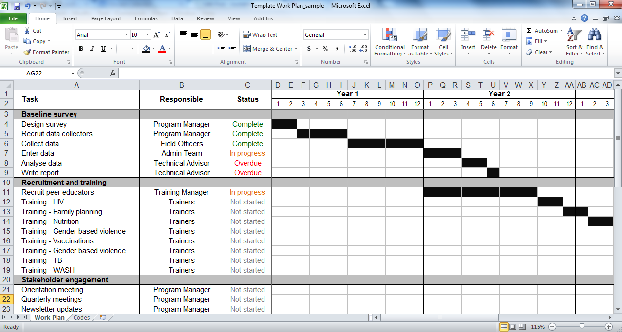 Example Of Work Plan Template Excel Within Work Plan Template Excel In Workshhet