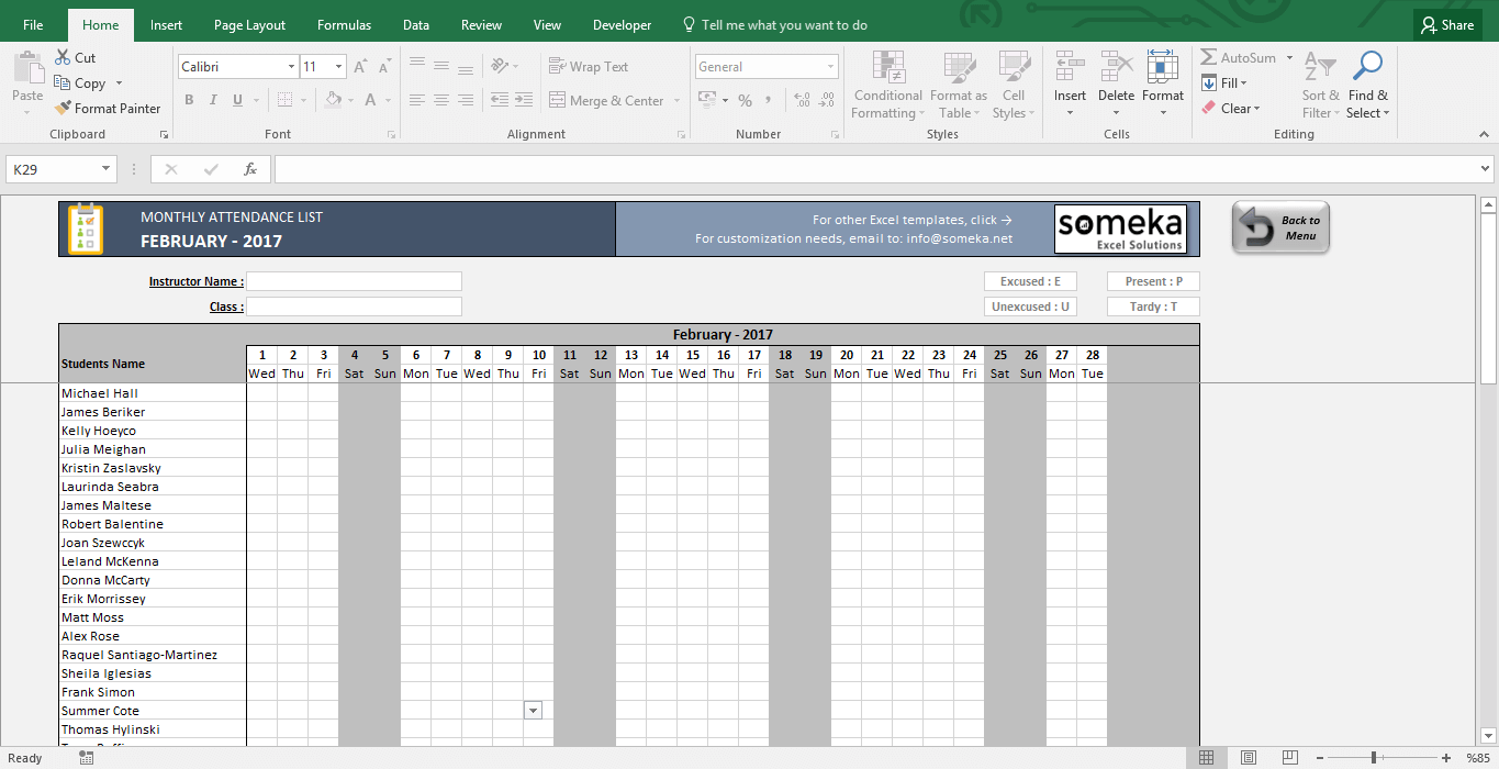 Examples Of Attendance Template Excel With Attendance Template Excel Example