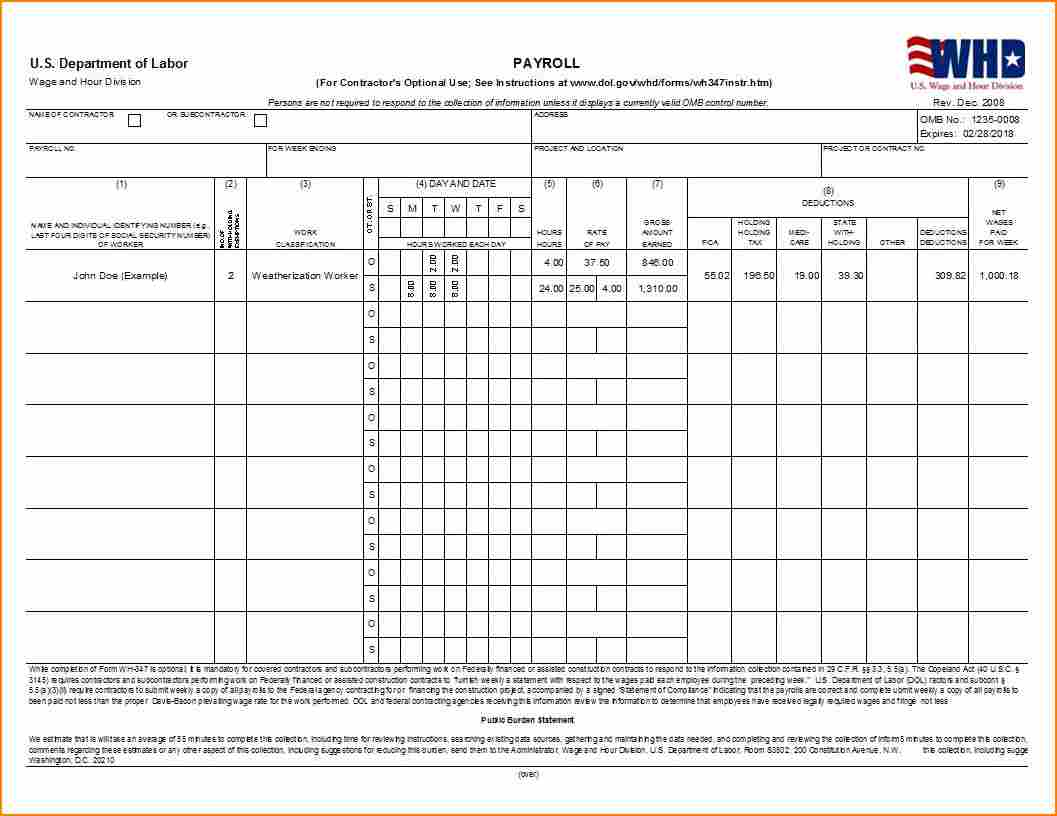 Examples Of Certified Payroll Forms Excel Format With Certified Payroll Forms Excel Format Free Download