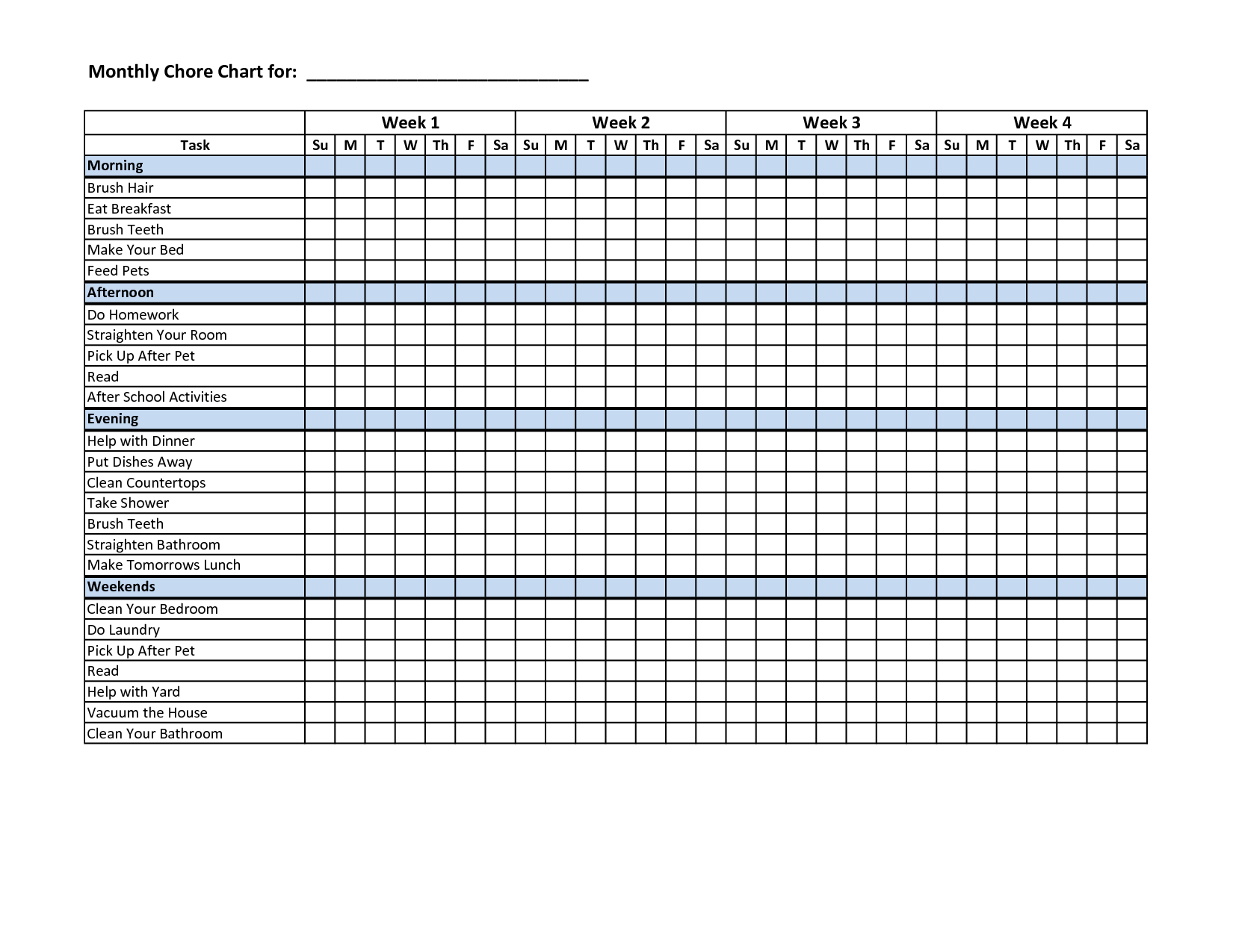 Examples Of Chore Chart Template Excel Throughout Chore Chart Template Excel Document