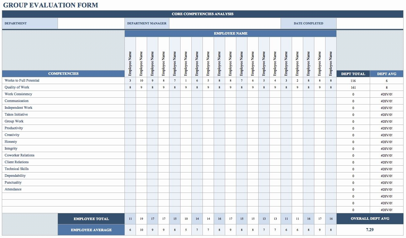 Examples Of Employee Performance Evaluation Template Excel Intended For Employee Performance Evaluation Template Excel Letter