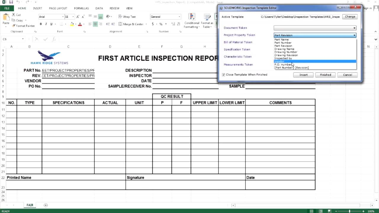 Examples Of Excel Inspection Template Within Excel Inspection Template Letters