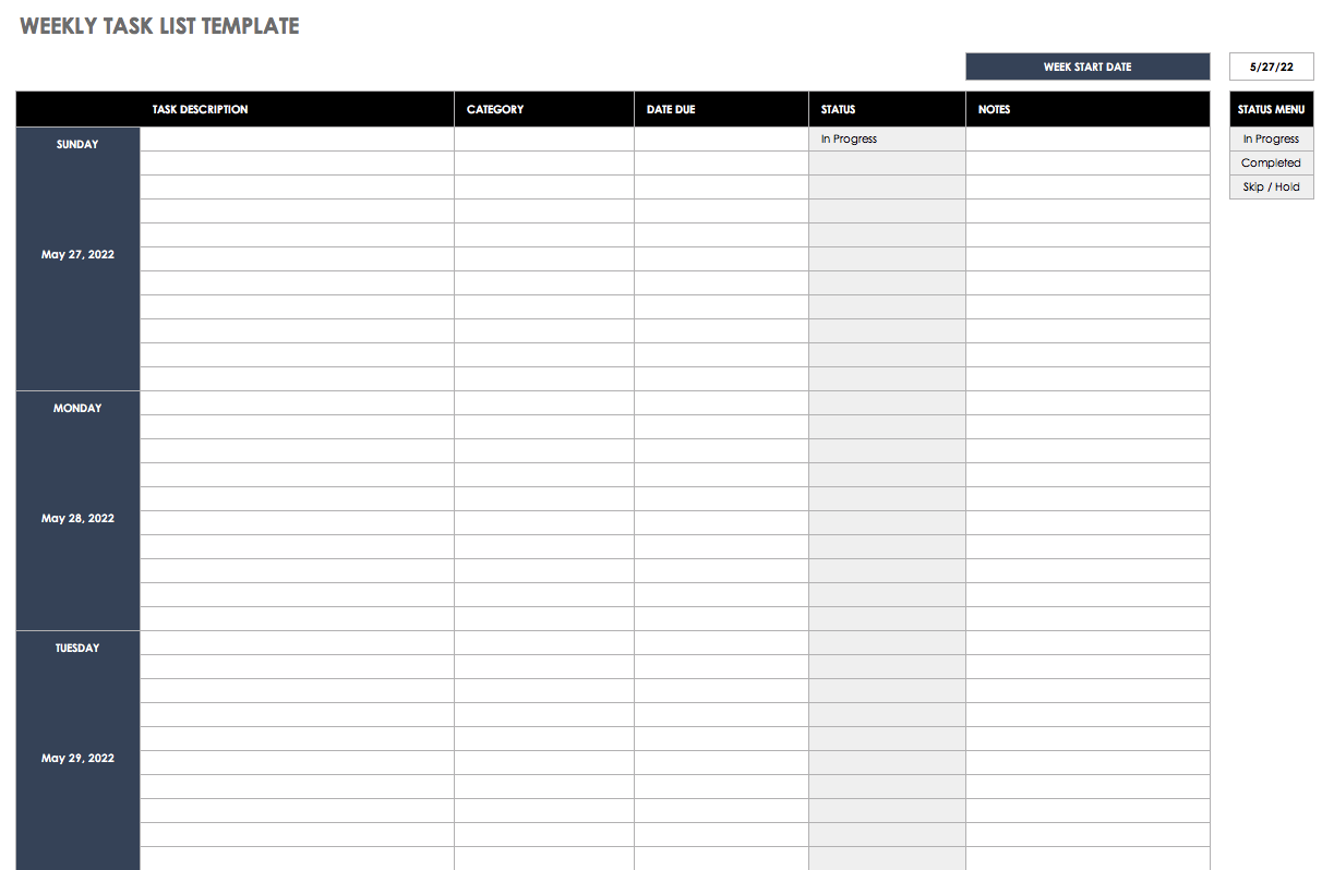 Examples Of Excel Weekly To Do List Template For Excel Weekly To Do List Template For Personal Use