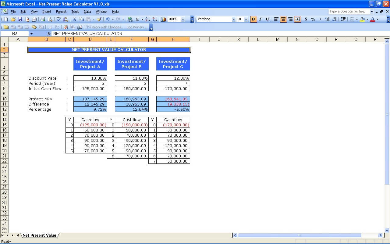 Examples Of Npv Excel Template Within Npv Excel Template Letters