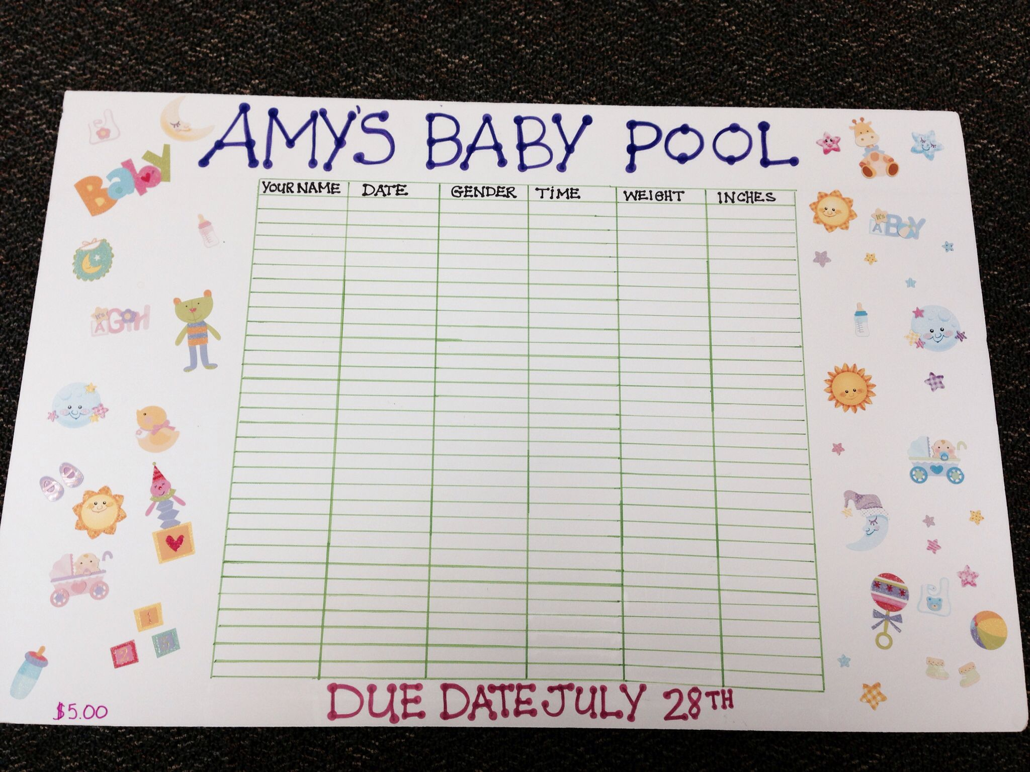 Examples Of Office Baby Pool Template Excel Within Office Baby Pool Template Excel Download For Free