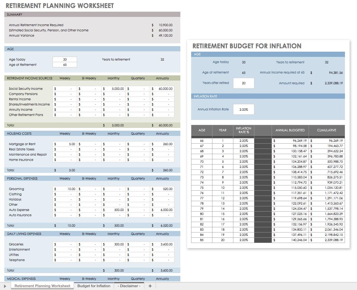 Examples Of Retirement Planning Worksheet Excel And Retirement Planning Worksheet Excel Free Download