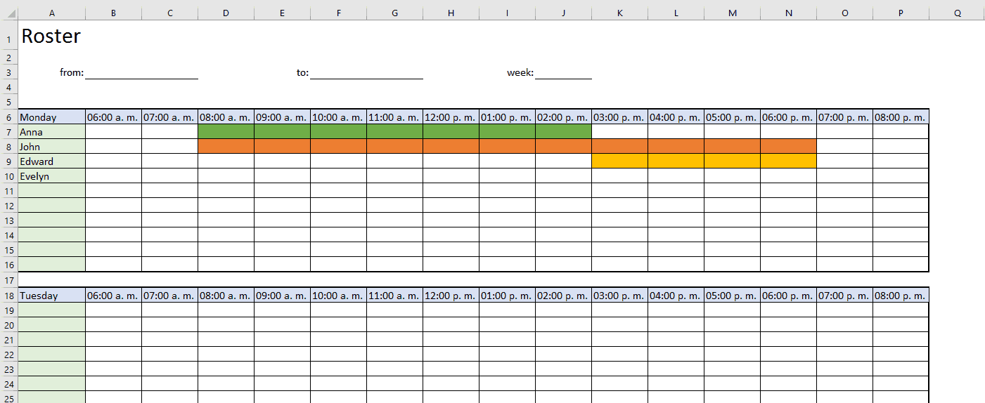 Examples Of Roster Template Excel Inside Roster Template Excel Example