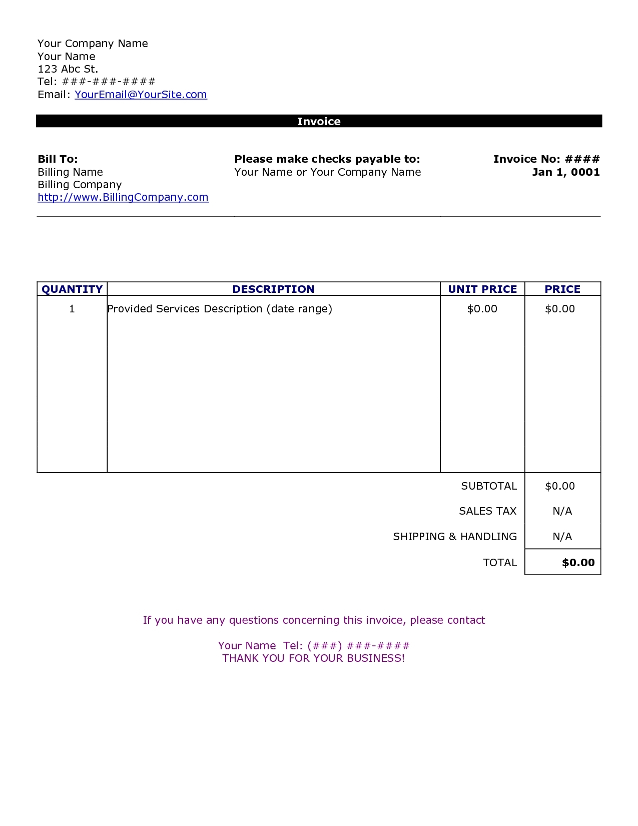 Examples Of Templates Invoices Free Excel With Templates Invoices Free Excel Download For Free
