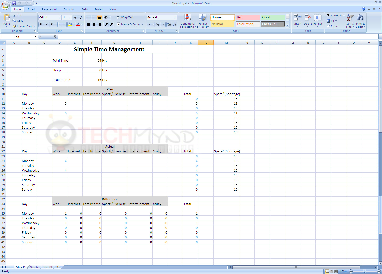 Examples Of Time Management Excel Spreadsheet With Time Management Excel Spreadsheet Letters