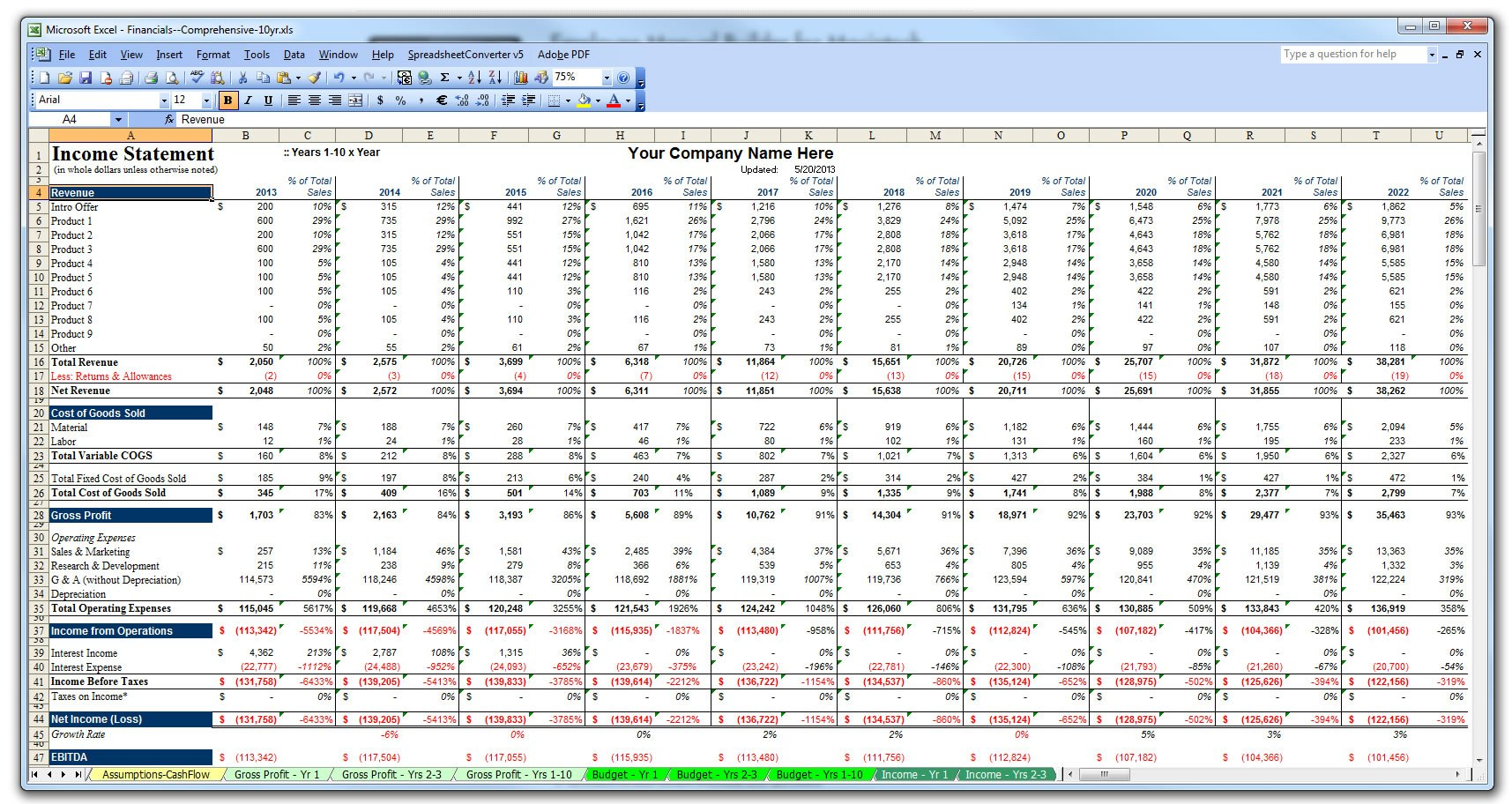 Free Business Plan Template Excel Intended For Business Plan Template Excel Sheet