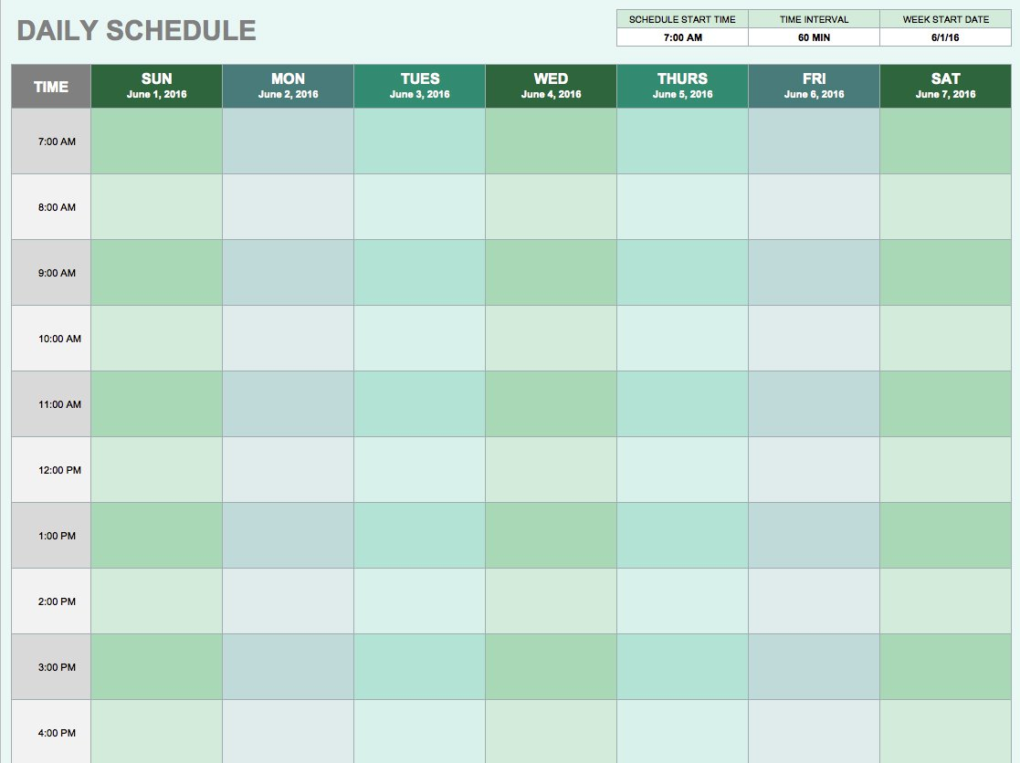 Free Daily Schedule Template Excel Inside Daily Schedule Template Excel Templates