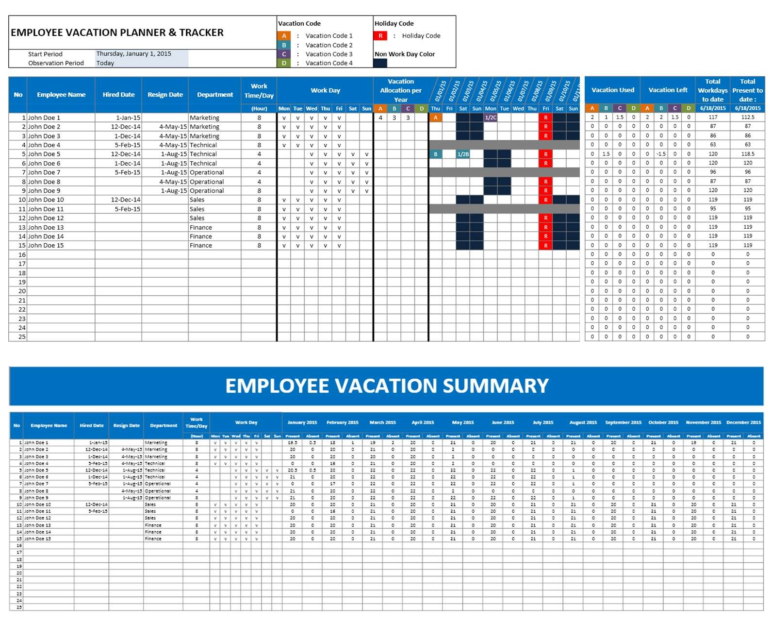 Free Employee Vacation Planner Template Excel Within Employee Vacation Planner Template Excel Download