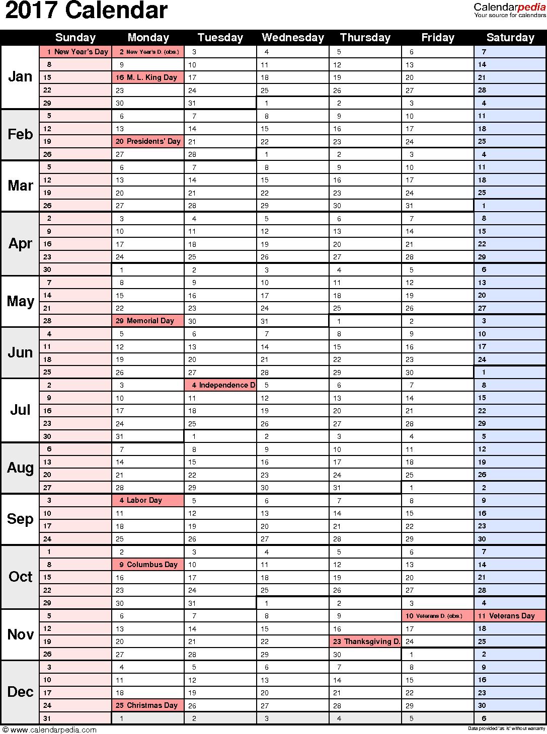 Free Excel Calendar 2017 Template In Excel Calendar 2017 Template Examples