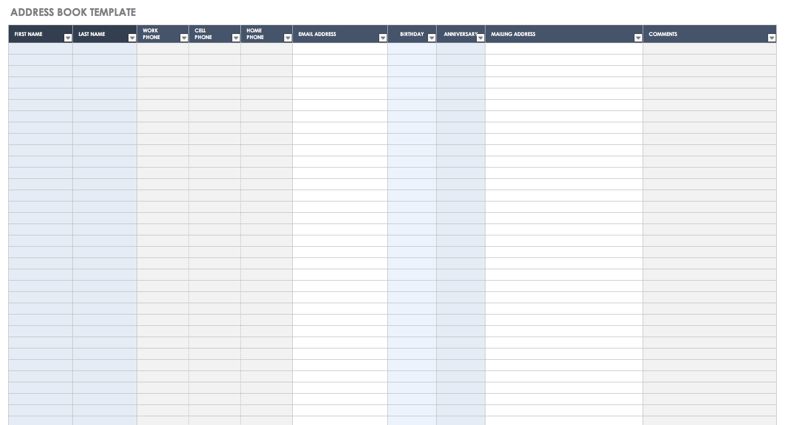 Free Excel Contacts Template And Excel Contacts Template Xlsx