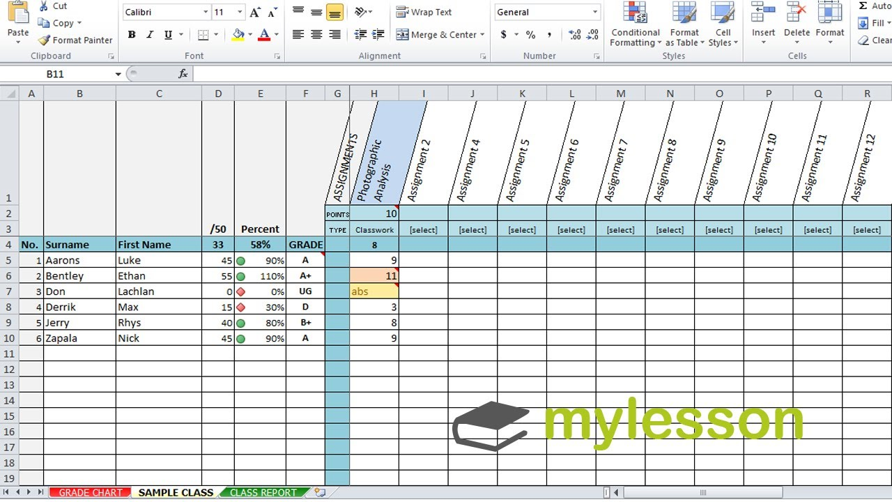 Free Excel Gradebook Template For Students Throughout Excel Gradebook Template For Students Document