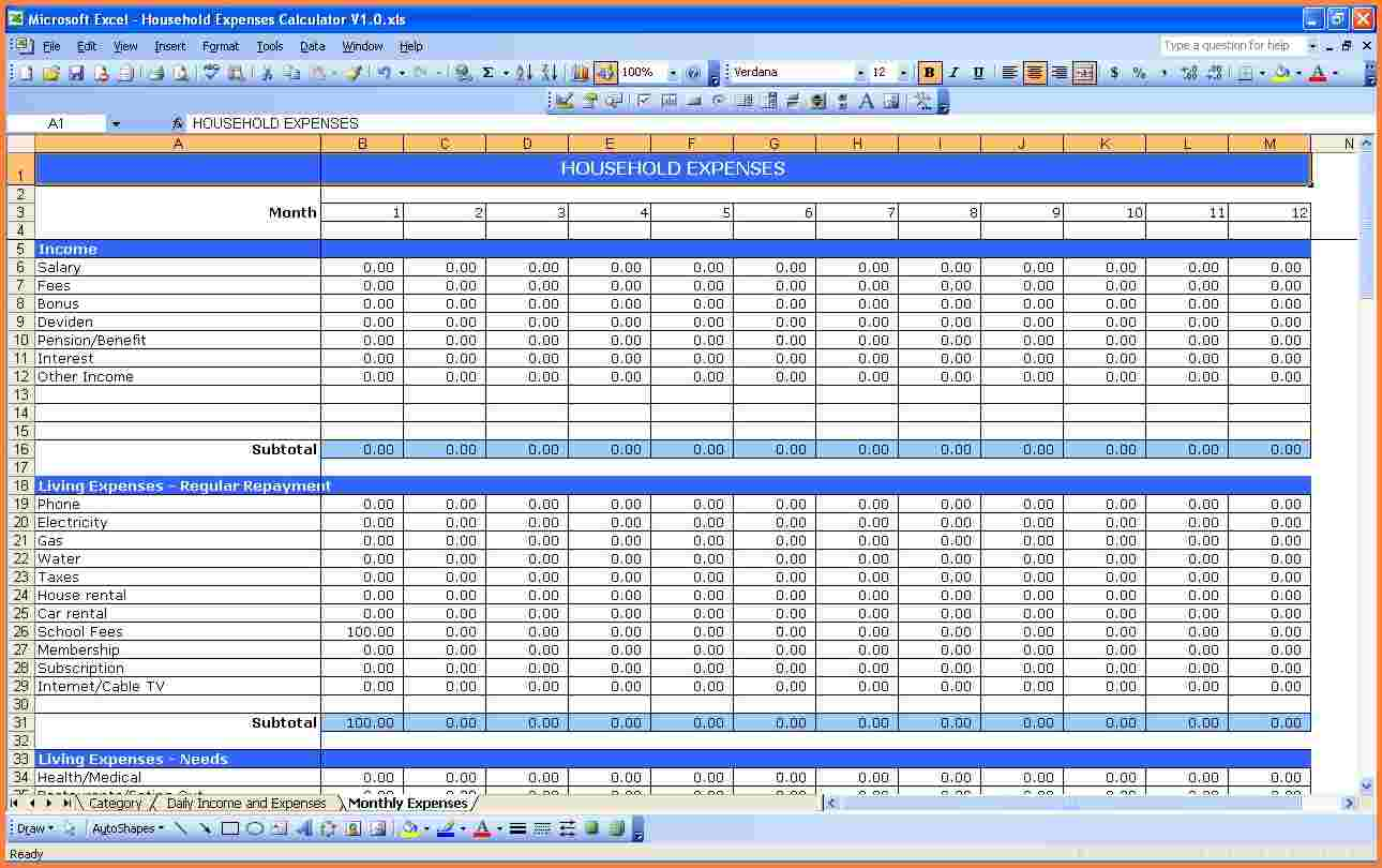 Free Excel Home Expense Spreadsheet Throughout Excel Home Expense Spreadsheet For Personal Use