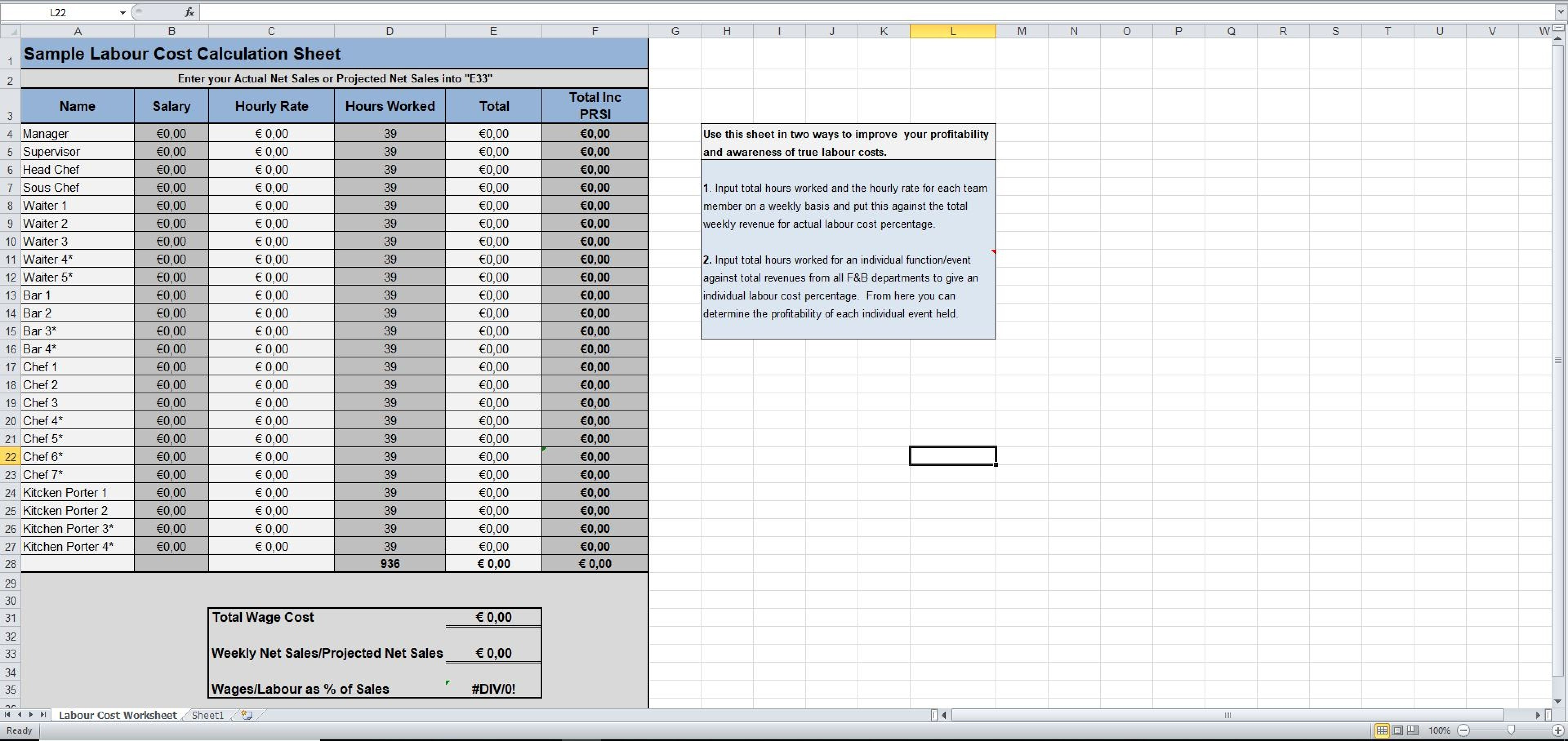 Free Labor Cost Template Excel Inside Labor Cost Template Excel Printable