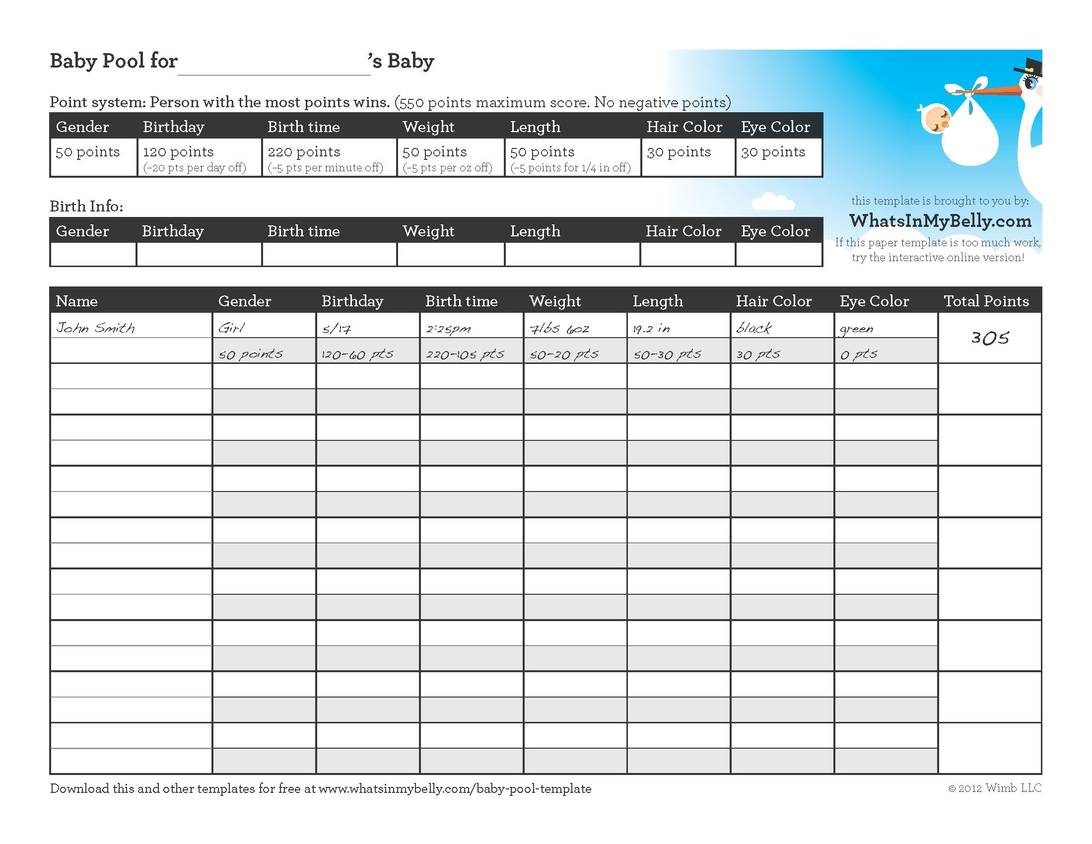 Free Office Baby Pool Template Excel Inside Office Baby Pool Template Excel Form