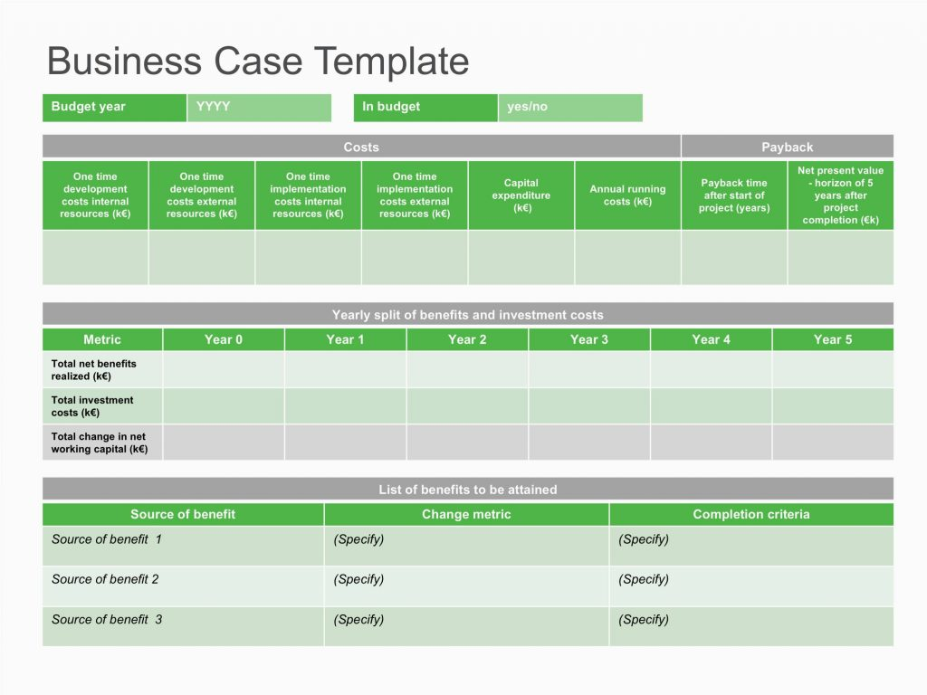 Free Project Business Case Template Excel With Project Business Case Template Excel For Personal Use