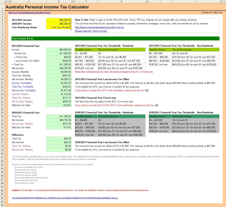 Free Tax Spreadsheet Australia To Tax Spreadsheet Australia Xlsx