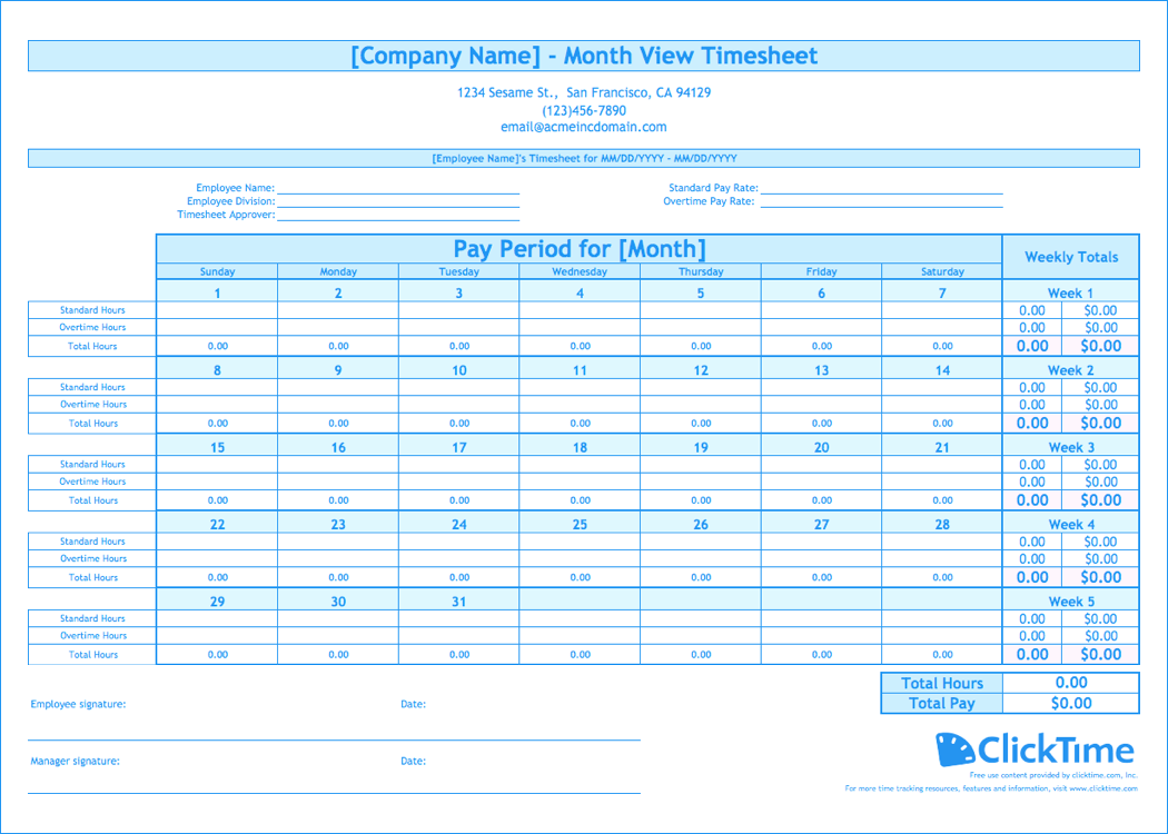 Free Timesheet Excel Template Monthly Inside Timesheet Excel Template Monthly For Google Spreadsheet