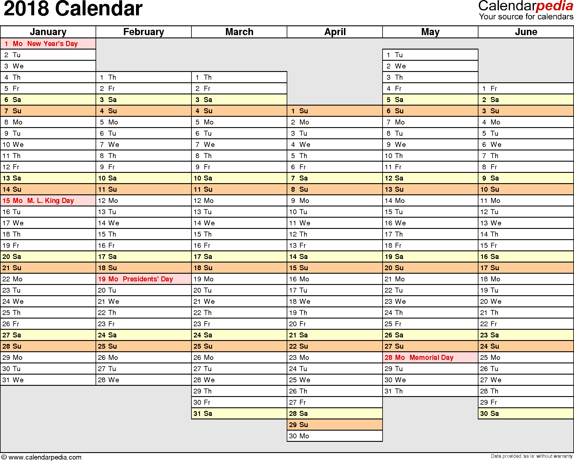 Letter Of 2018 Yearly Calendar Template Excel With 2018 Yearly Calendar Template Excel Samples