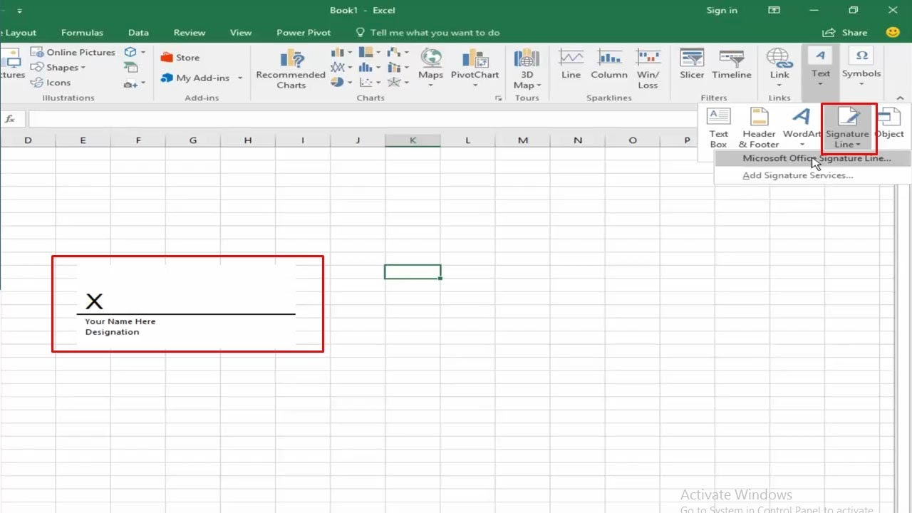 Letter Of Add Signature To Excel Worksheet Intended For Add Signature To Excel Worksheet Xls