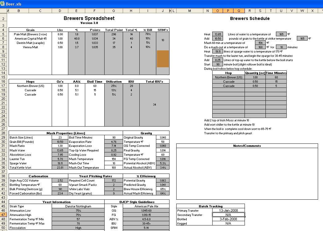 Letter Of Beer Brewing Excel Spreadsheet With Beer Brewing Excel Spreadsheet Document