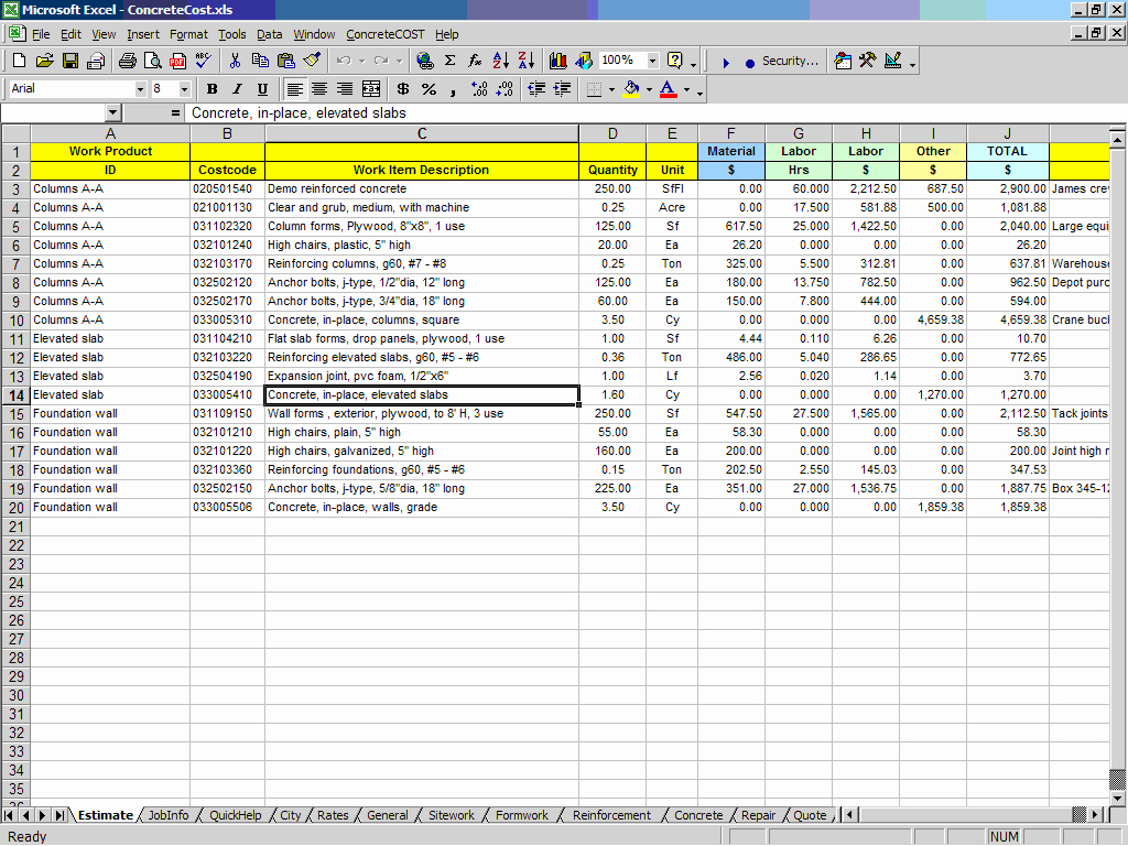 Letter Of Construction Cost Excel Template Inside Construction Cost Excel Template For Free