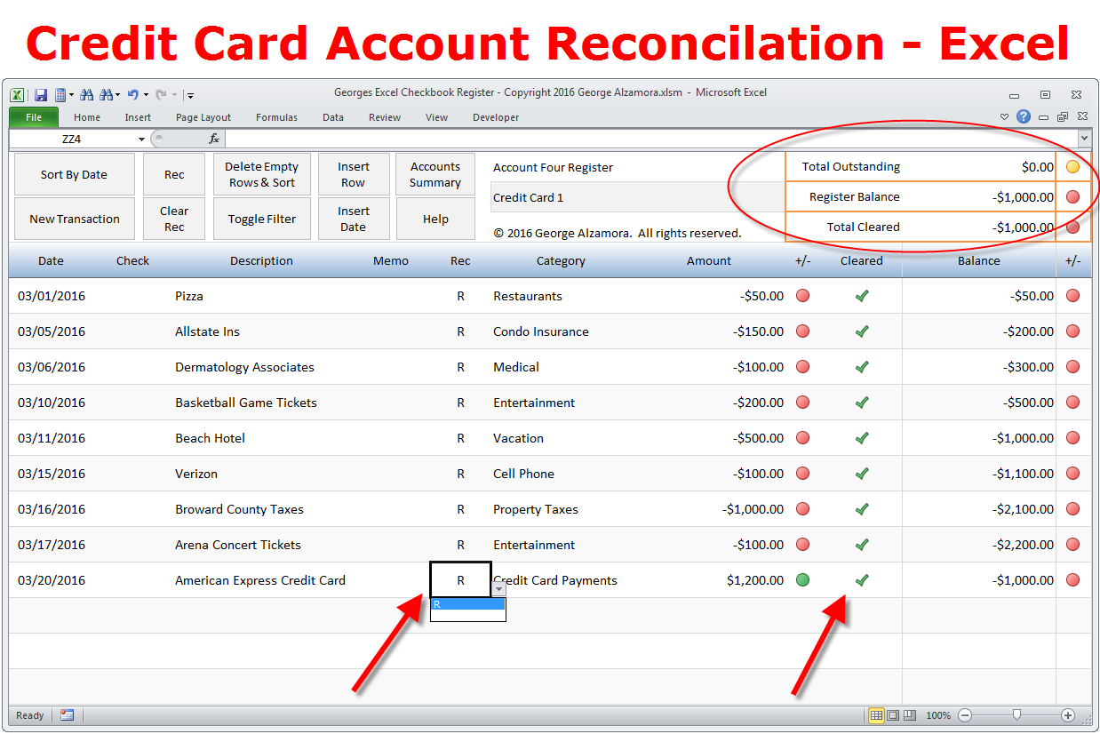 Letter Of Credit Card Reconciliation Template In Excel To Credit Card Reconciliation Template In Excel Xlsx