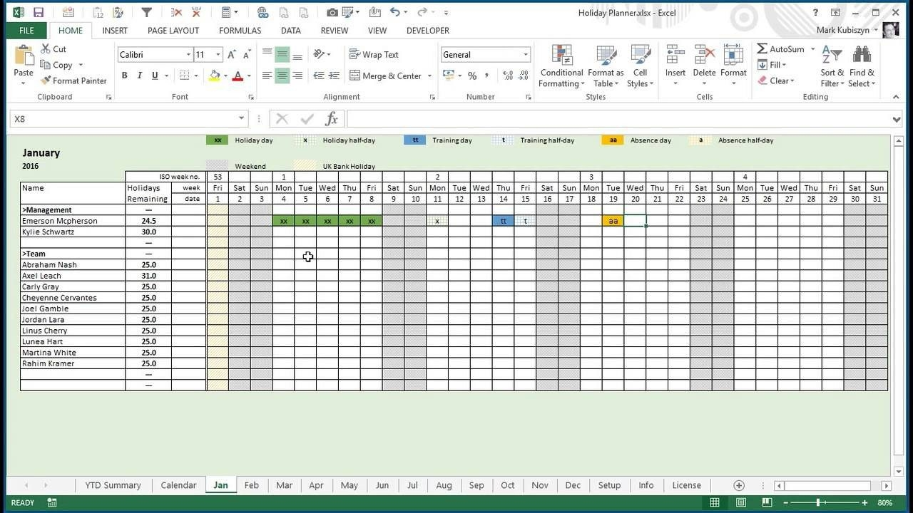 Letter Of Employee Vacation Planner Template Excel With Employee Vacation Planner Template Excel Document