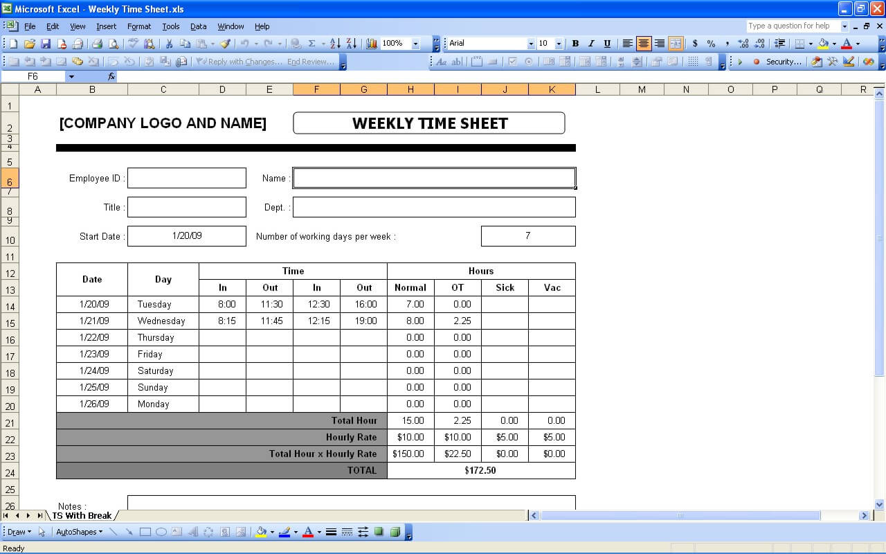Letter Of Excel Weekly Timesheet Template With Formulas And Excel Weekly Timesheet Template With Formulas Form