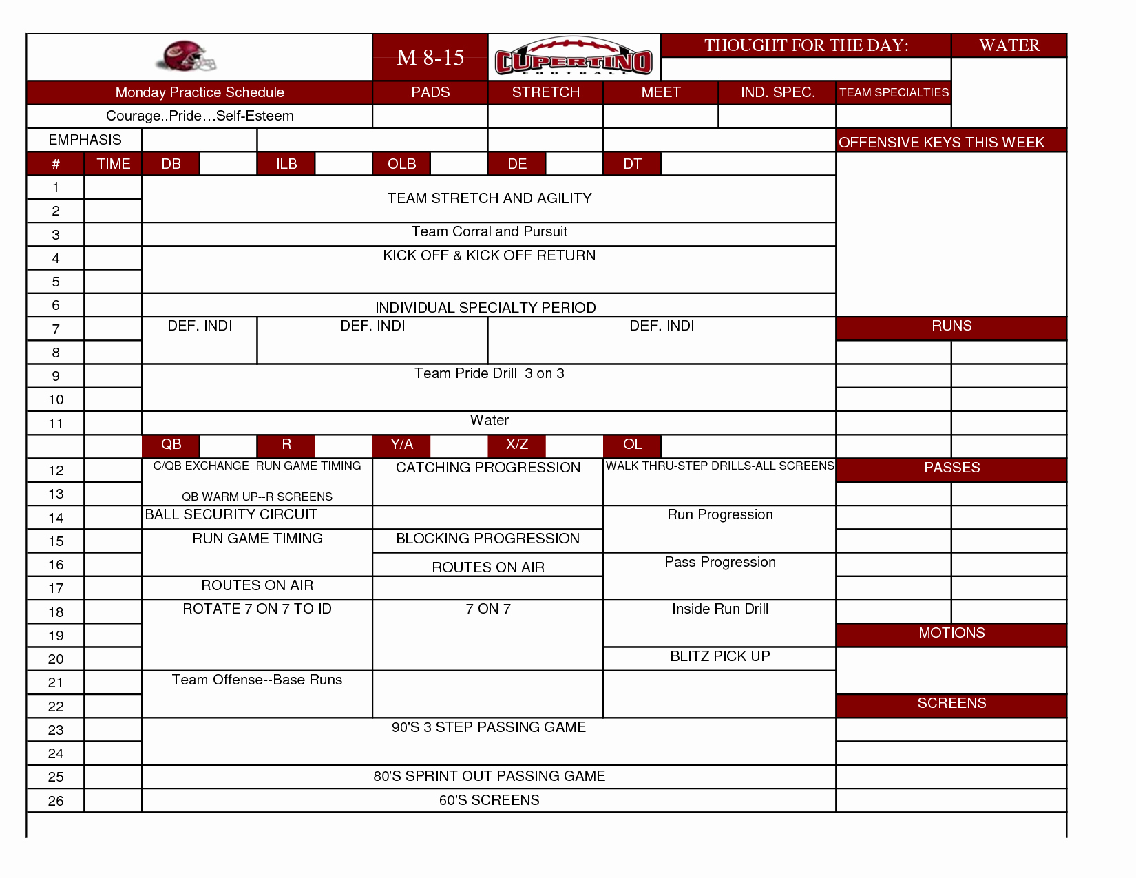 Letter Of Football Practice Template Excel In Football Practice Template Excel Document