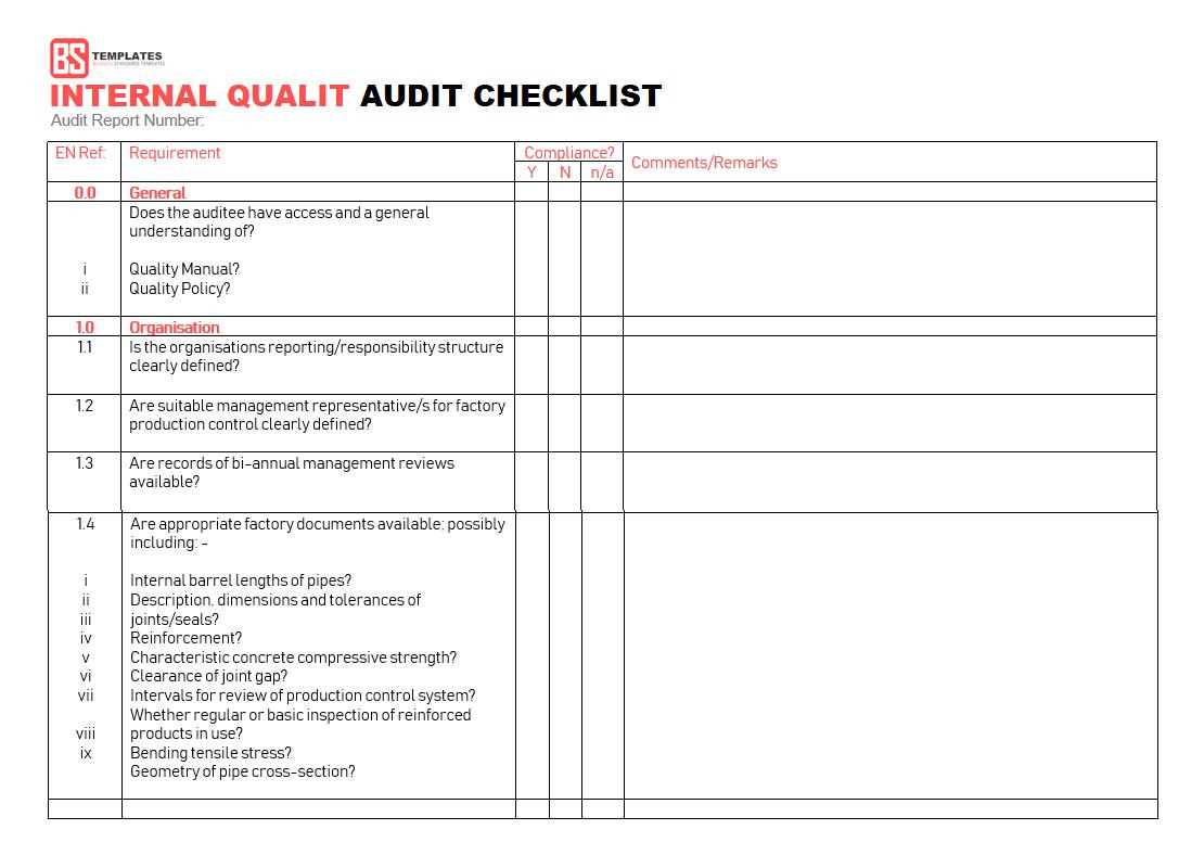 Letter Of Internal Audit Checklist Template Excel For Internal Audit Checklist Template Excel In Spreadsheet