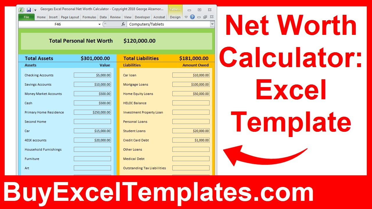 Letter Of Net Worth Excel Spreadsheet And Net Worth Excel Spreadsheet Letter