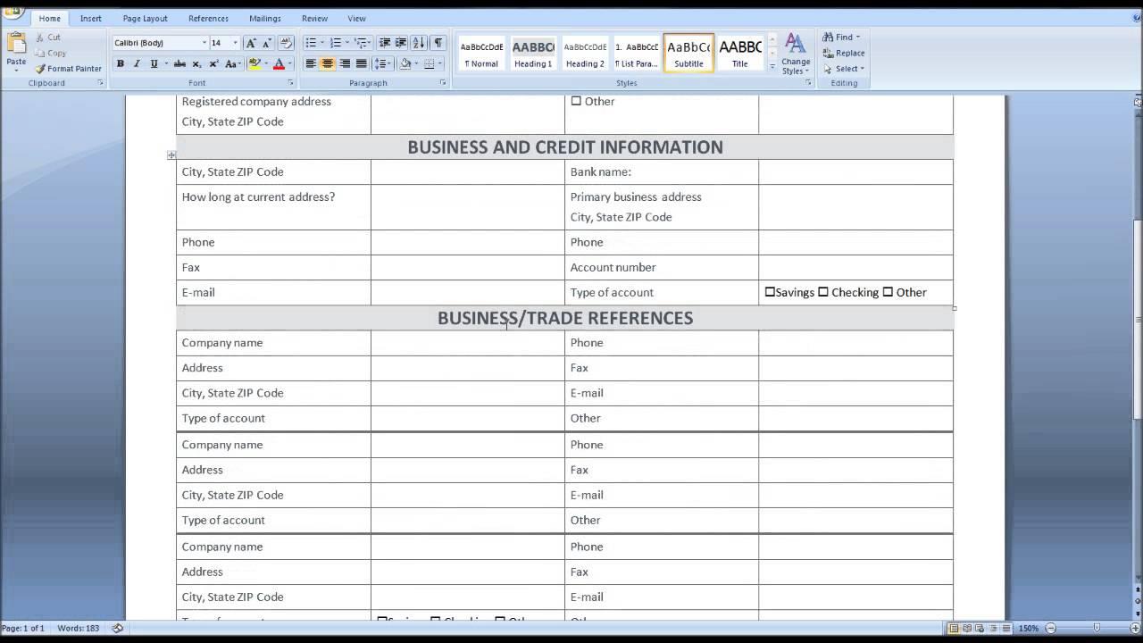 Letter Of Registration Form Template Excel Intended For Registration Form Template Excel Document