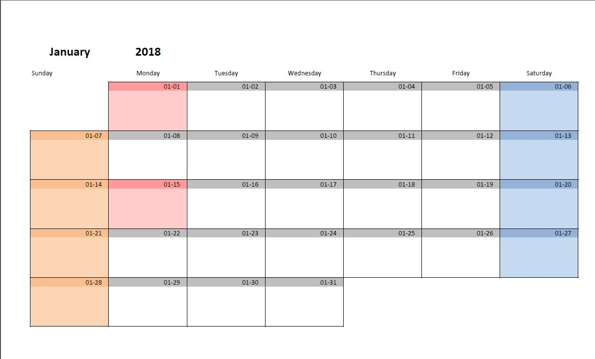 Letters Of 2018 Monthly Calendar Template Excel With 2018 Monthly Calendar Template Excel Form