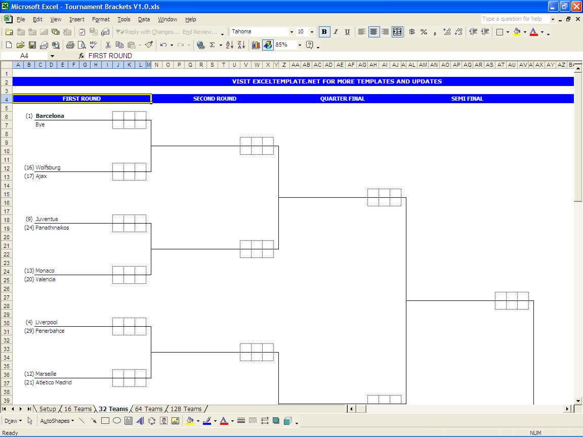 Letters Of Excel Bracket Template To Excel Bracket Template Format