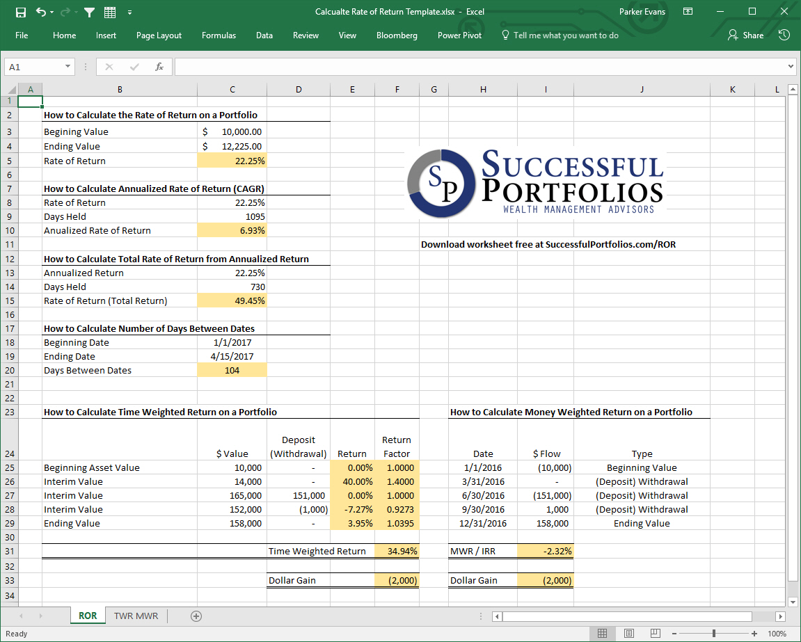Letters Of Money Weighted Return Excel Template And Money Weighted Return Excel Template For Personal Use