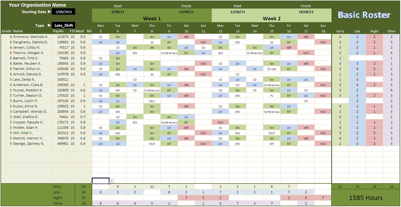 Letters Of Roster Spreadsheet For Roster Spreadsheet Examples