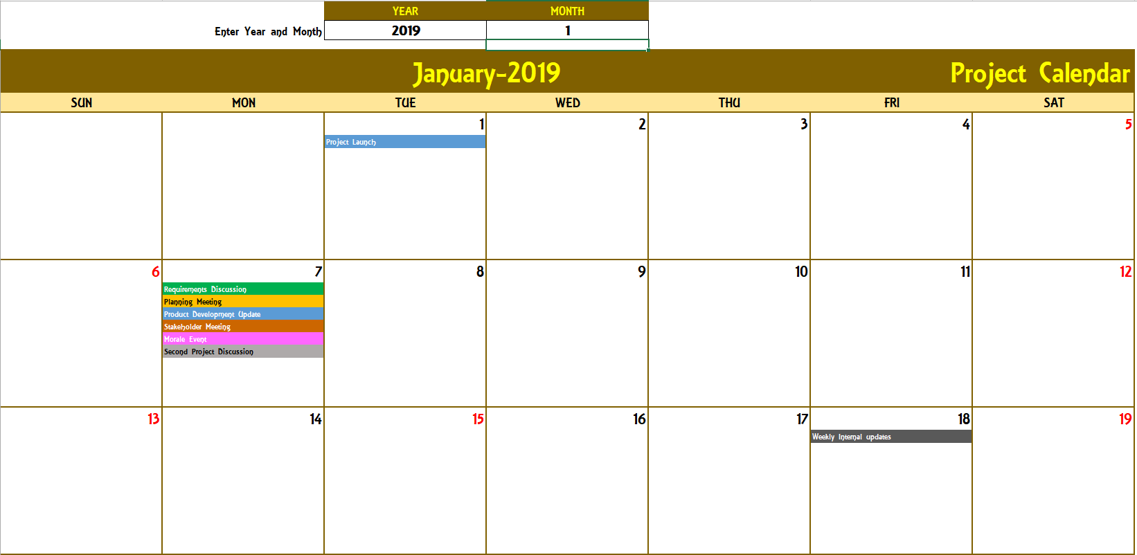 Personal 2019 Monthly Calendar Template Excel With 2019 Monthly Calendar Template Excel For Free
